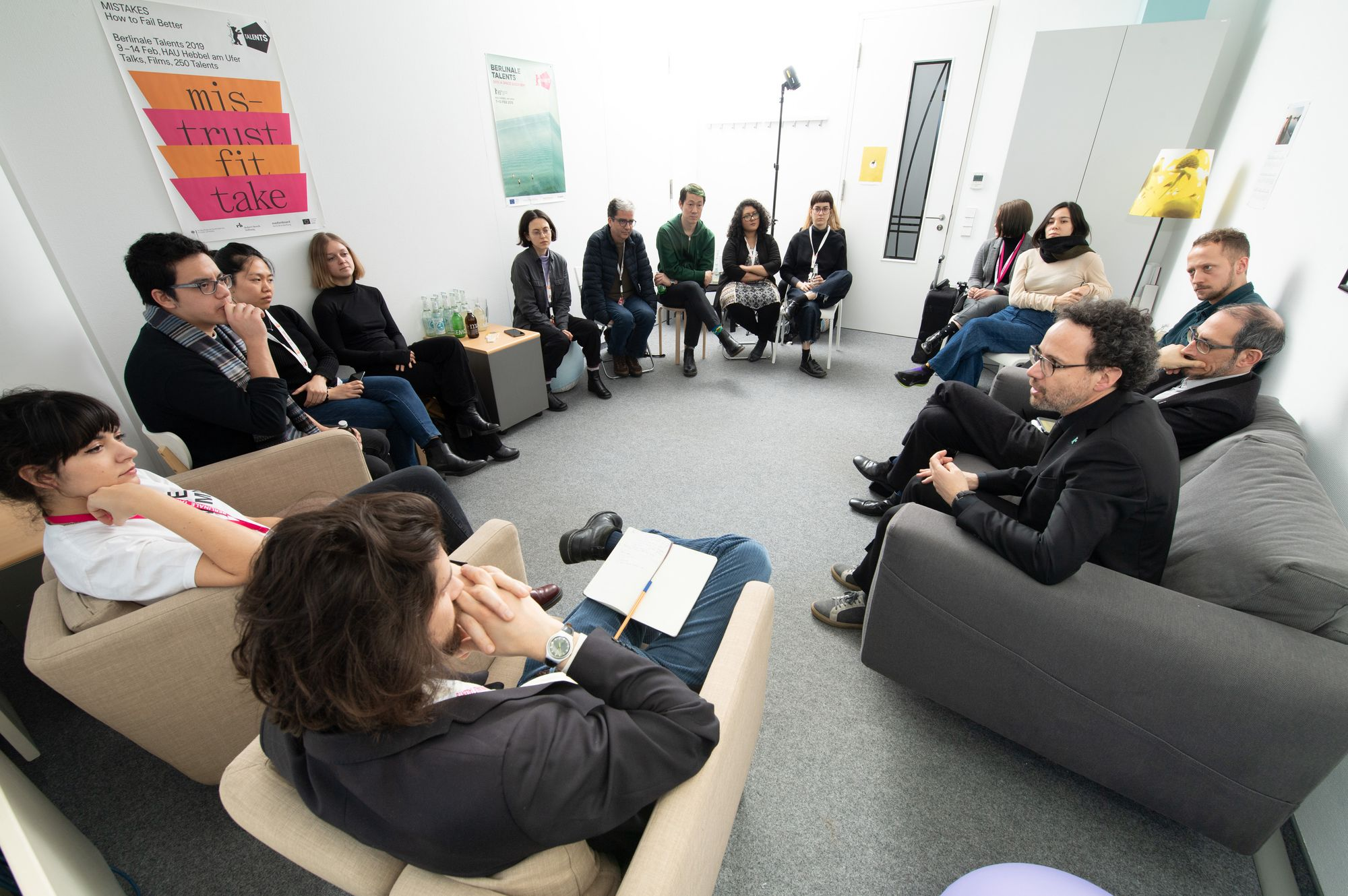 The Talent Press team listen attentively to Berlinale Artistic Director Carlo Chatrian.