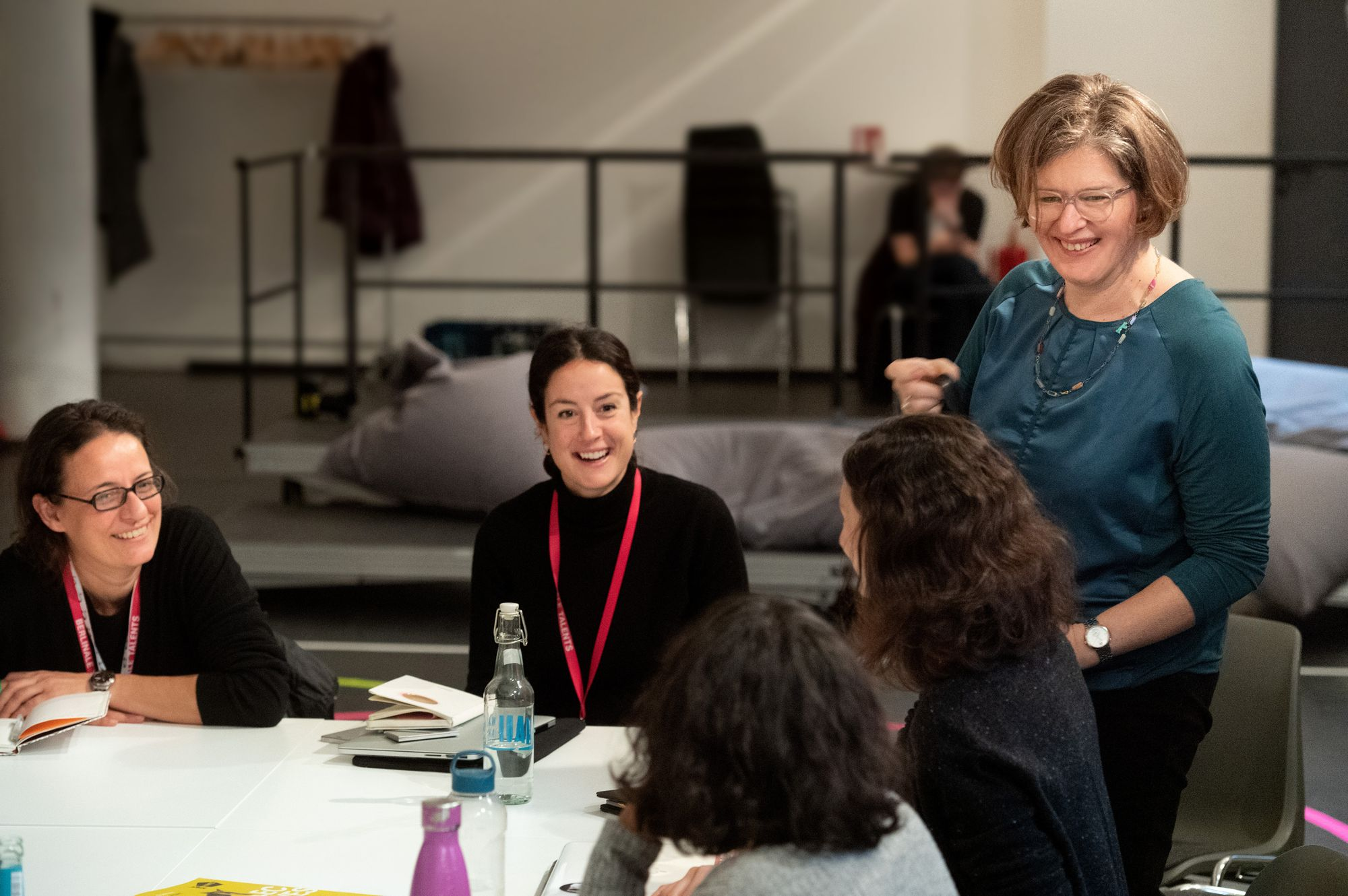 Christine Tröstrum talks business with Maria A. Ruggieri and Viki Antonopoulou at the Market Studio Workshop.